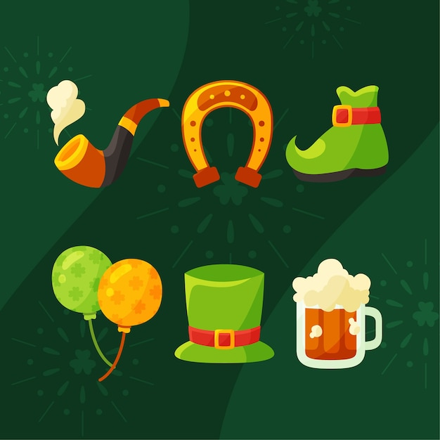 Flat st. patrick's day element collection Free Vector