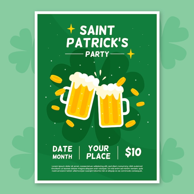 Flat st. patrick's day flyer / poster template Free Vector