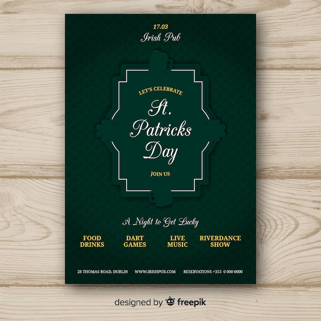 Flat st. patrick's day flyer template Free Vector