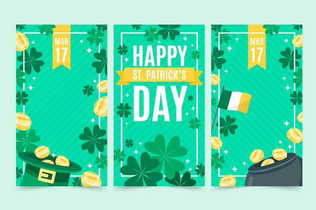 Flat st. patrick's day instagram stories collection Free Vector