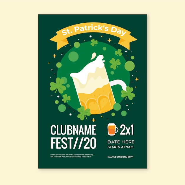 Flat st. patrick's day poster template Free Vector