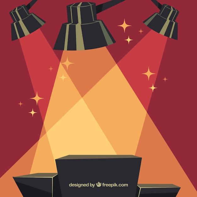 Flat stage podium with elegant lightning Free Vector