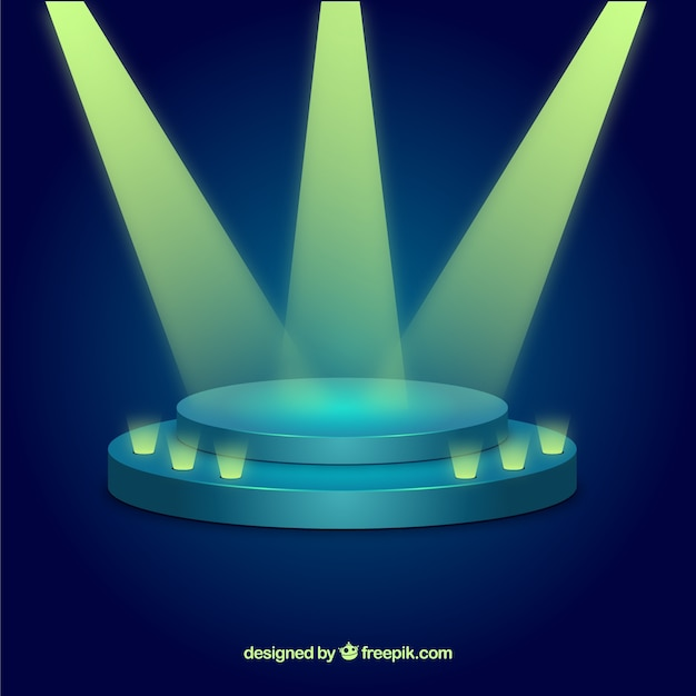 Flat stage podium with elegant lightning Free Vector