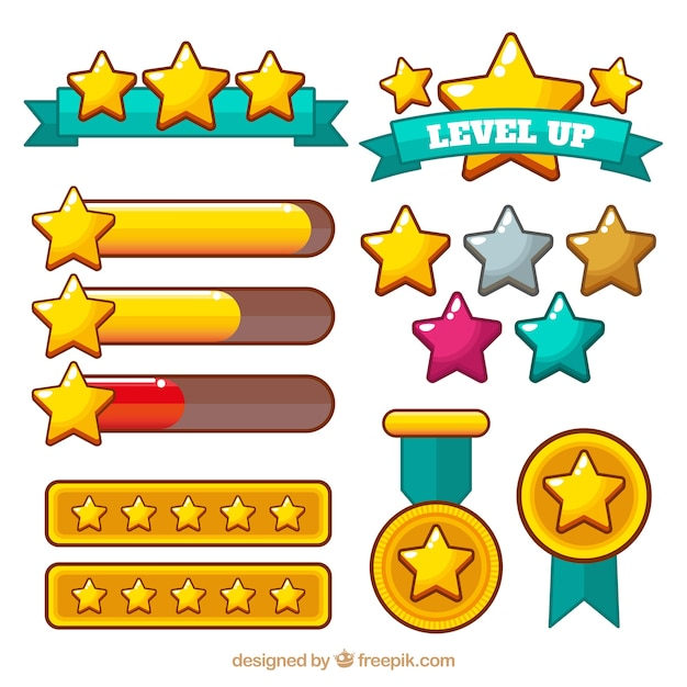 Flat star collection for games Free Vector
