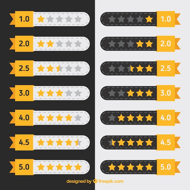 Flat star rating collection Free Vector