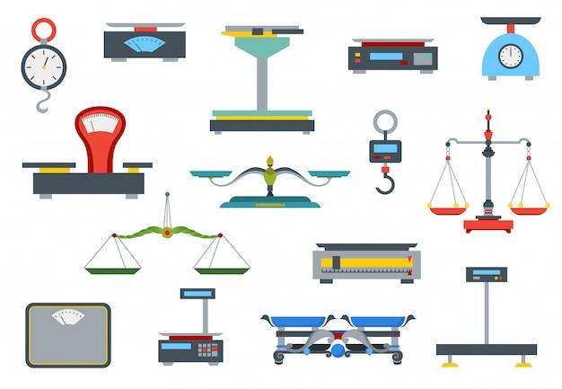 Плоский магазин весов. коллекция электронных и механических весов для магазина Premium векторы