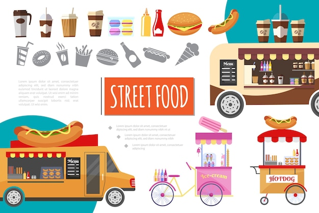 Flat street food composition Free Vector