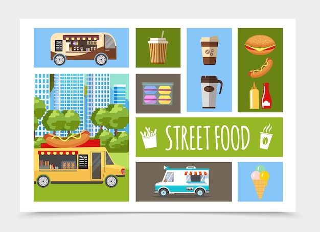 Flat street food elements composition Free Vector