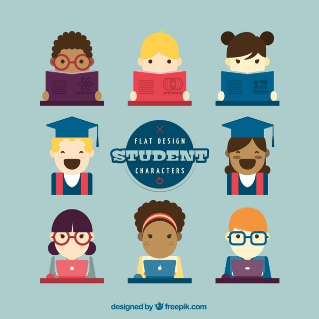 Classroom Design For Grade 3 ~ Flat student characters collection vector free download