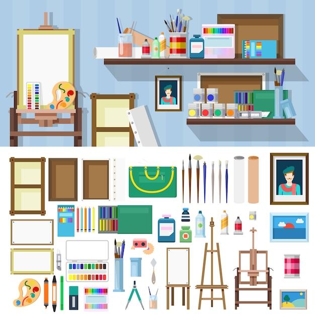 Kit oggetti bottega d'arte stile piatto. illustrazione impostata per costruire il posto di lavoro dell'artista. collezione di kit. Vettore gratuito