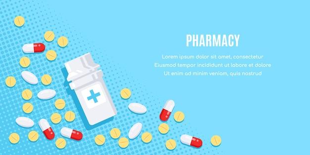 Плоский дизайн баннера с лекарствами. таблетки, капсулы, обезболивающие, антибиотики, витамины и бутылочки. Premium векторы