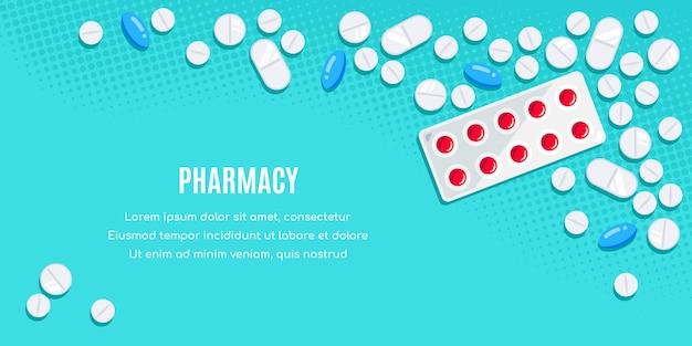 Плоский дизайн баннера с лекарствами. таблетки, капсулы, обезболивающие, антибиотики, витамины. Premium векторы
