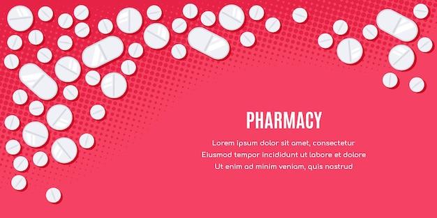 Плоский дизайн баннера с лекарствами. таблетки, обезболивающие, антибиотики, витамины. Premium векторы