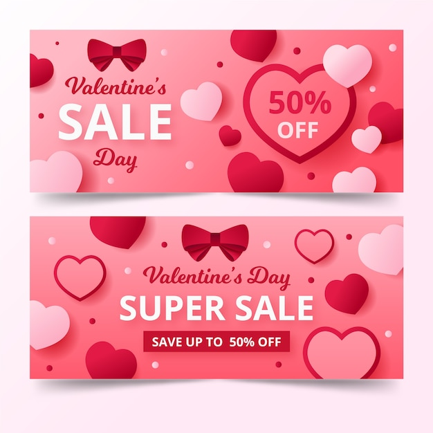 Flat style banners for valentine's day Free Vector