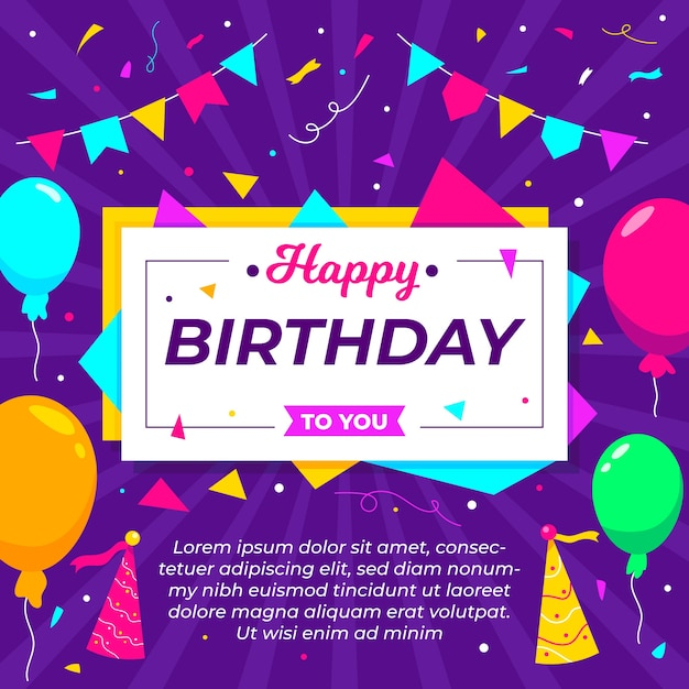 Flat style for birthday background Free Vector