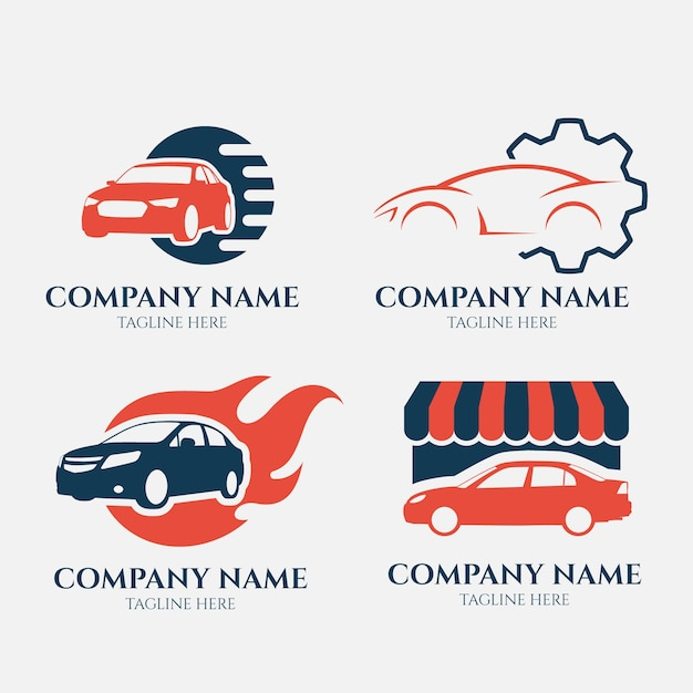 Flat style car logo collection Free Vector