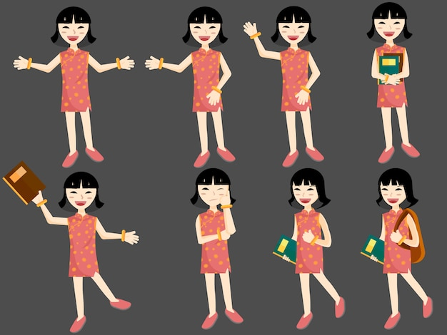 Flat style cartoon set of young asian girl student with books and bags Premium Vector