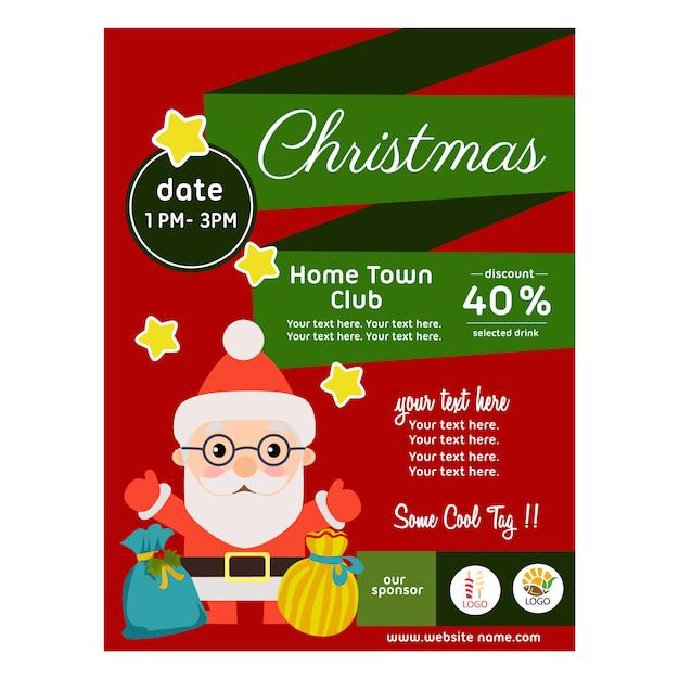 Flat style christmas poster with santa gift sacks Premium Vector