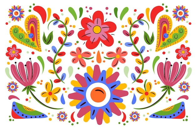Flat style colorful mexican background Free Vector