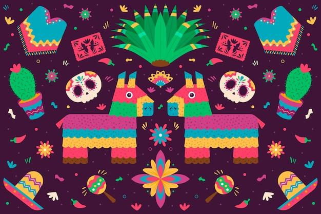 フラットスタイルのカラフルなメキシコの背景 無料ベクター