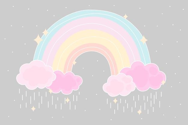 Плоский стиль красочной радуги Бесплатные векторы