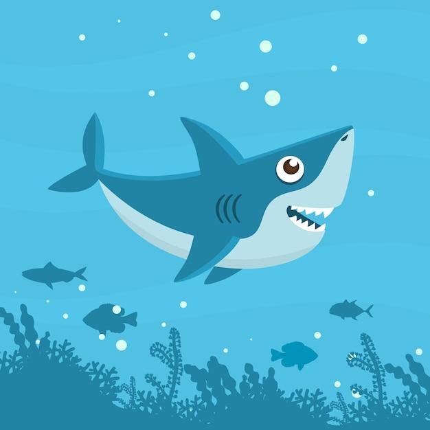 Flat style cute baby shark Free Vector