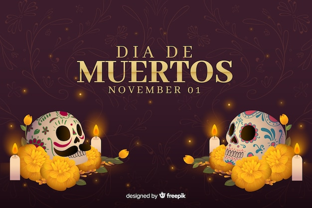 Flat style day of the dead background Free Vector