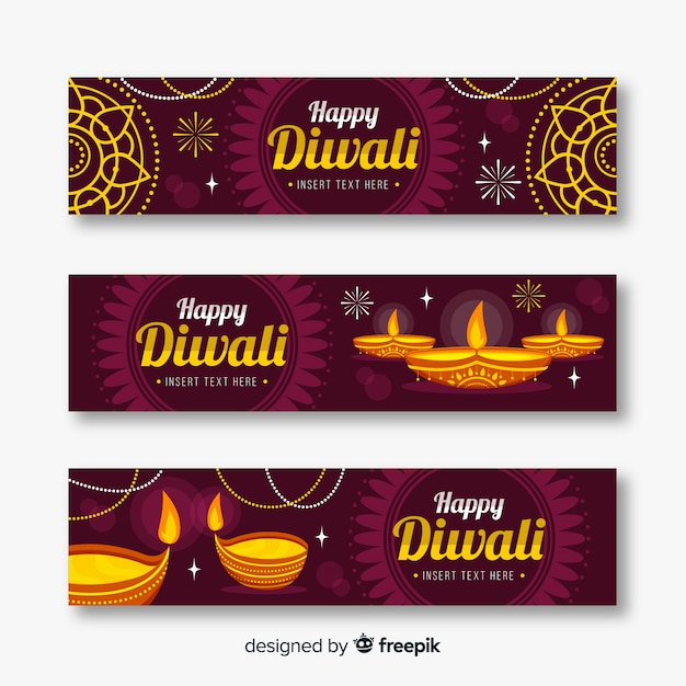 Flat style diwali web banners Free Vector