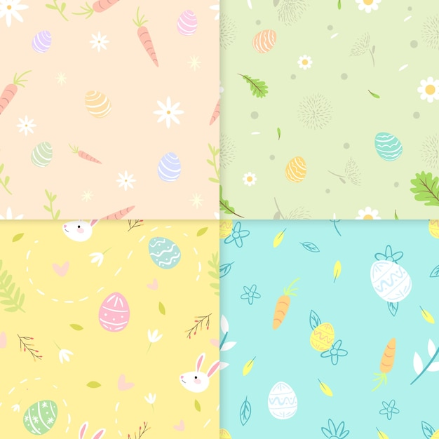 Flat style easter day pattern Free Vector