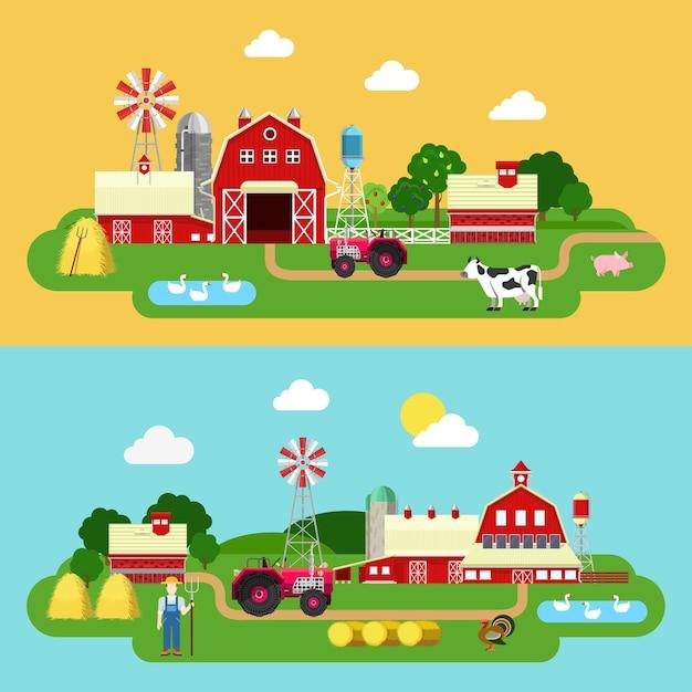 フラットスタイルの農場の建物の緑の植物の領土生活屋外バナーセット。トラクター牛ガチョウ農家牛舎納屋バイア屋台。農業農業コンセプトコレクション。 無料ベクター