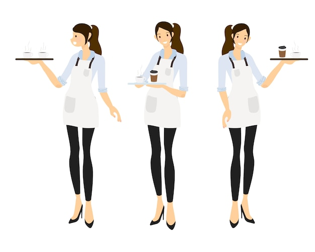Flat style female barista or coffee waiter  collection Premium Vector