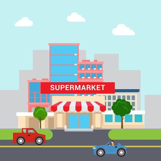 플랫 스타일의 재미있는 만화 슈퍼마켓 쇼핑몰 건물 판매 주차장 및 교통 거리. 비즈니스 마케팅 컬렉션. 무료 벡터