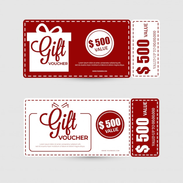Flat style gift voucher or coupon layout with best offers. Premium Vector