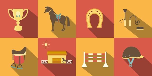 Плоские символы лошади стиля Бесплатные векторы