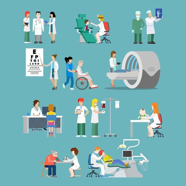 Плоский стиль больничной профессии специалист концепции люди набор иконок для больничной группы пациентов обследование рентгеновской инвалидной коляски мрт окулист стоматолог педиатр док медсестра. Бесплатные векторы