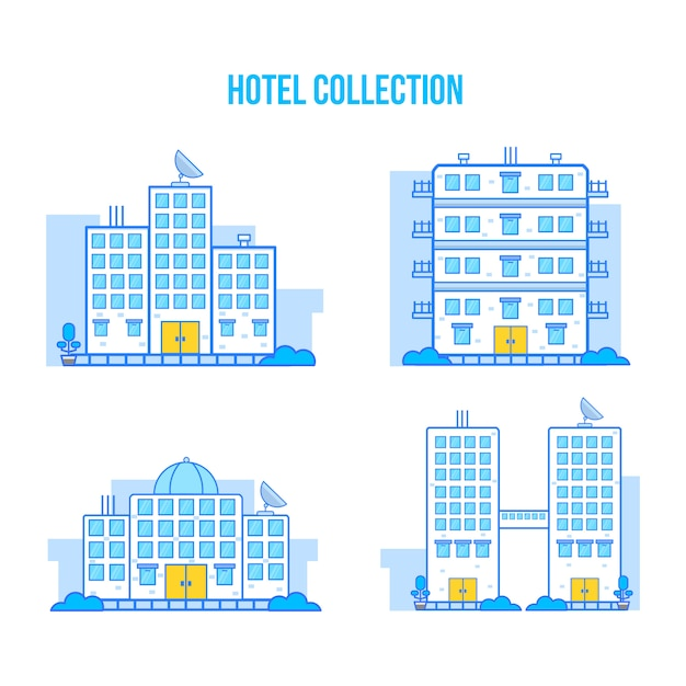 Flat style hotel collection Premium Vector