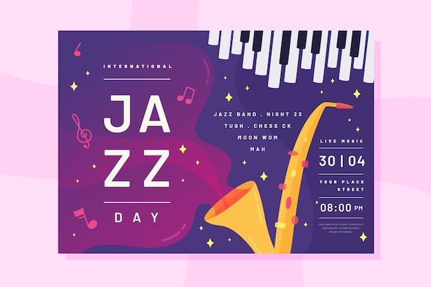 Flat style international jazz day flyer Free Vector
