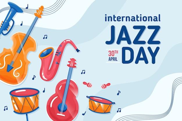 Flat style international jazz day Free Vector