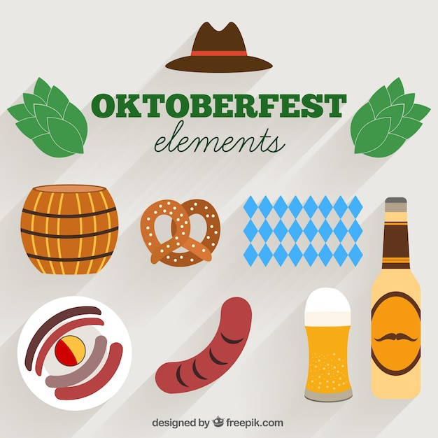 Flat style items for oktoberfest Vector | Free Download