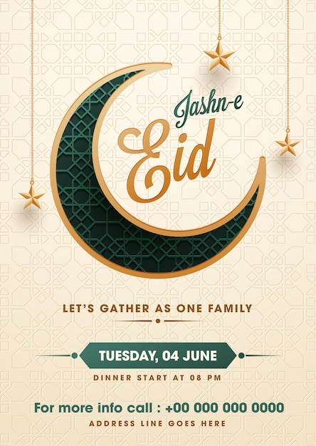 Flat Style Jasne Eid Party Invitation Card Template Design