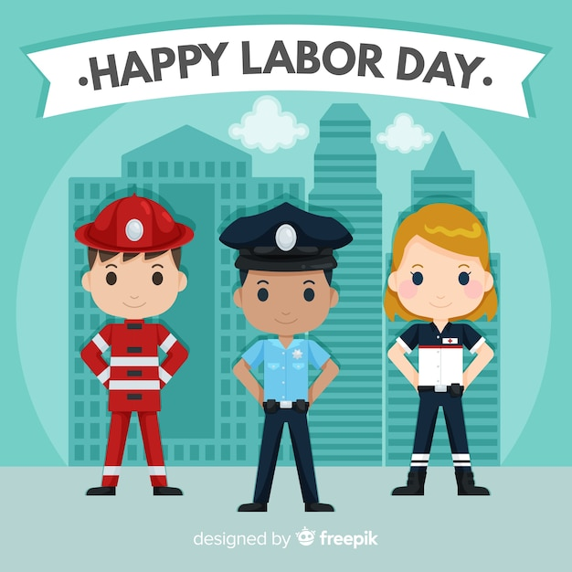 Flat style labor day background with professions Free Vector