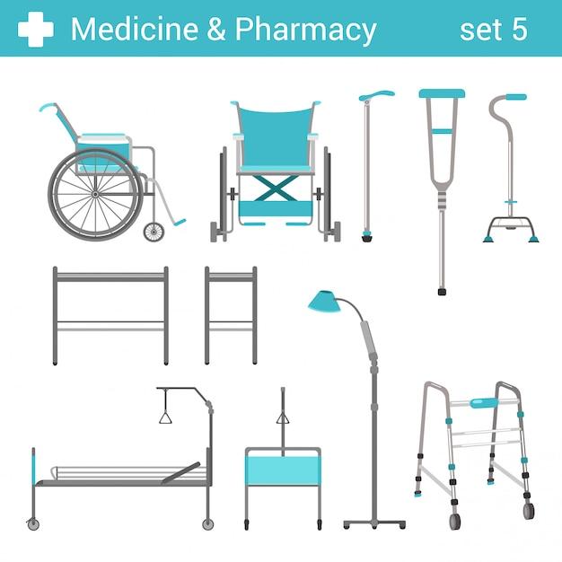 Flat style medical hospital disabled equipment illustrations set. Premium Vector