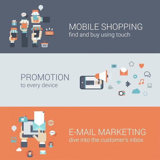 Плоский стиль мобильной электронной коммерции продвижение инфографики концепция. смартфон онлайн интернет-магазин продажа покупки планшета продвижение по электронной почте маркетинг веб-сайт значок баннеры шаблоны набора. Бесплатные векторы