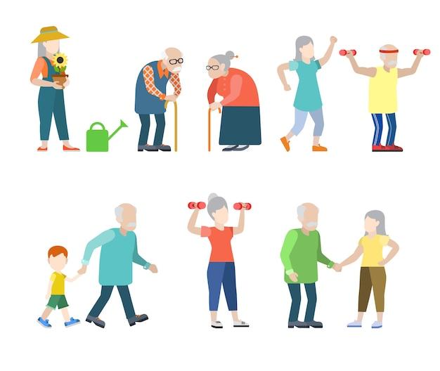 플랫 스타일의 현대인의 명품 상황이 설정됩니다. 회색 남성 여성 할머니 할아버지 건강한 라이프 스타일. 무료 벡터