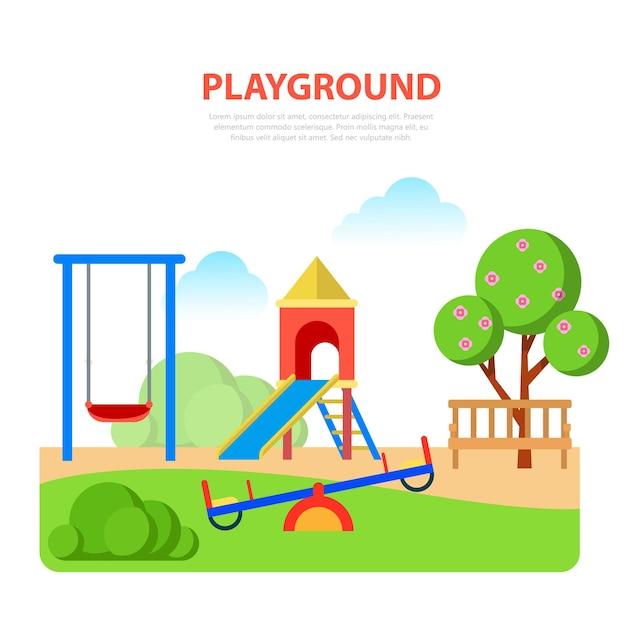 公園テンプレートのフラットスタイルのモダンな遊び場。スライドシーソー 無料ベクター