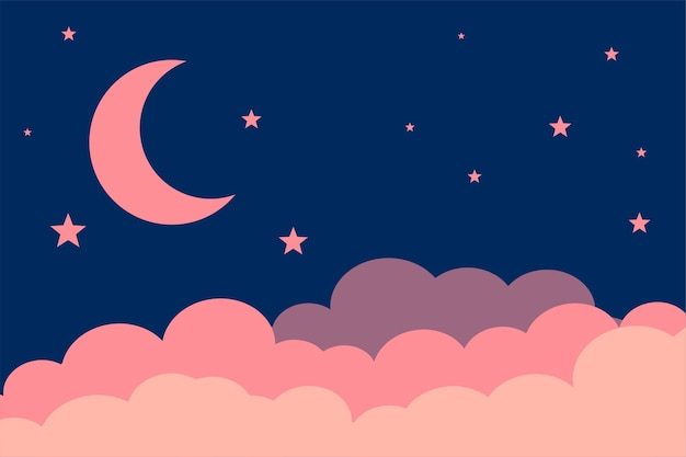 평면 스타일 달 별과 구름 배경 디자인 무료 벡터