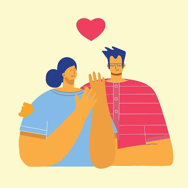Плоский стиль счастливой пары в любви Premium векторы
