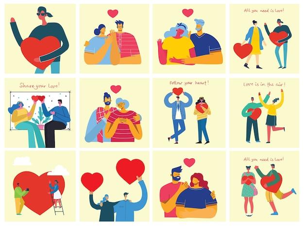 Плоский стиль счастливых влюбленных пар Premium векторы