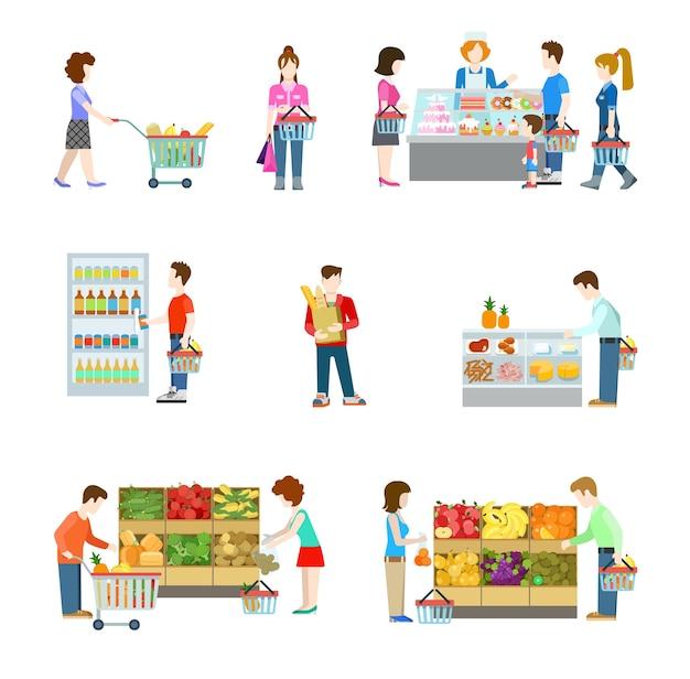 Figure di persone di stile piano agli scaffali del negozio di alimentari del supermercato del centro commerciale Vettore gratuito