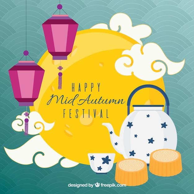 Flat-style scene, mid autumn festival